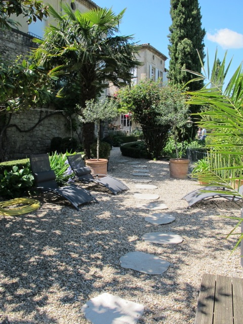 Path from the main house to the gite and swimming pool.