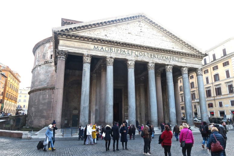 It was unusually cold for Rome--as you can see here at the Pantheon.