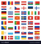 Europe flags. Vector iconsset.
